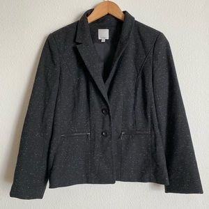 Halogen wool blend blazer with zippered pockets